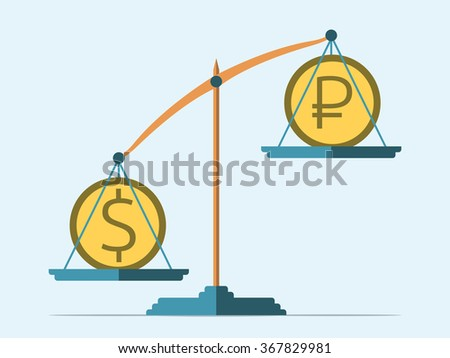 Dollar and ruble coins on scales. Rouble in decline. Flat style. Exchange rate concept - stock photo