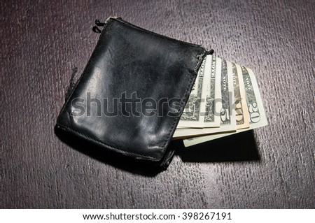 dollar and wallet on wooden table bisiness