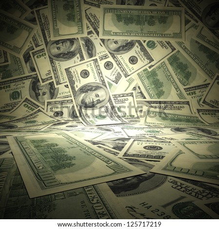 Dollar background. A 3d illustration of empty scene surface from american dollars. - stock photo