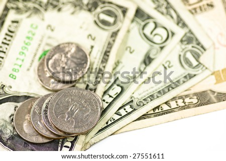 dollar bank note and coins on white background - stock photo