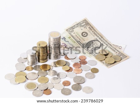 Dollar banknote and Coins stack money currency on white back ground