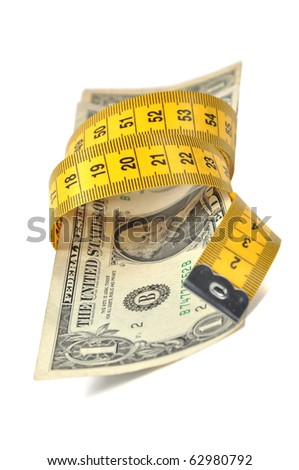Dollar banknote and measure tape