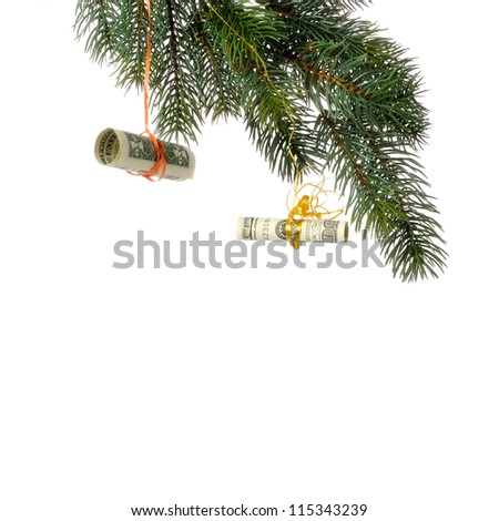 dollar banknote hanging on christmas tree branch on white background close-u - stock photo