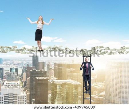 Dollar banknote path with businessman climbing ladder and businesswoman standing on it above sunlit New York city - stock photo