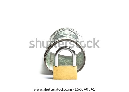 dollar banknote rolled with lock security and space for text. Money for safety and investment. - stock photo
