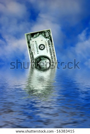 dollar banknote sinking in water as concept for american economy in difficult - stock photo