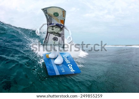 dollar banknote with arms and legs surfing with credit card surfboard, 3d illustration - stock photo