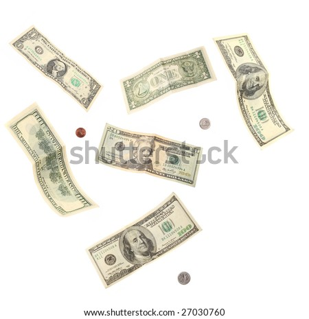 dollar banknotes and coins isolated on white background - stock photo