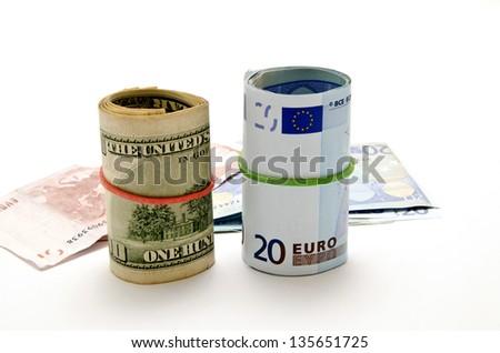dollar banknotes and euro - stock photo