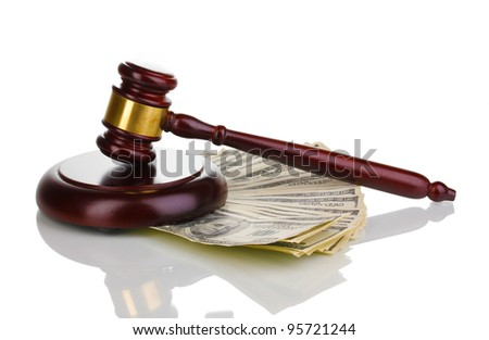 Dollar banknotes and judge's gavel isolated on white