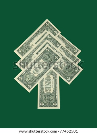 Dollar banknotes arranged in a shape of fir-tree as symbol of evergreen currency - on green background - stock photo