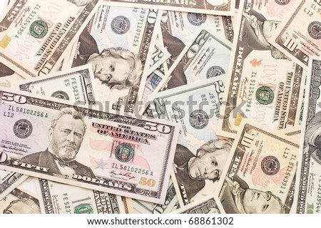 Dollar banknotes, business money background - stock photo