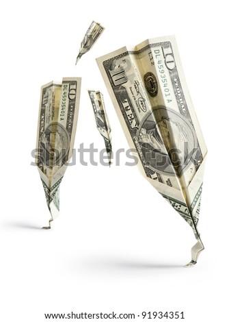 dollar banknotes crash on white background - stock photo