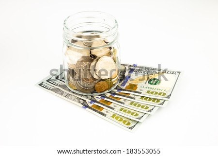 dollar banknotes currency and coins, money concept for saving and banking - stock photo