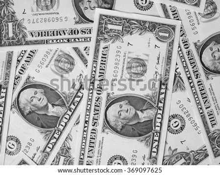 Dollar banknotes 1 Dollar currency of the United States useful as a background in black and white - stock photo