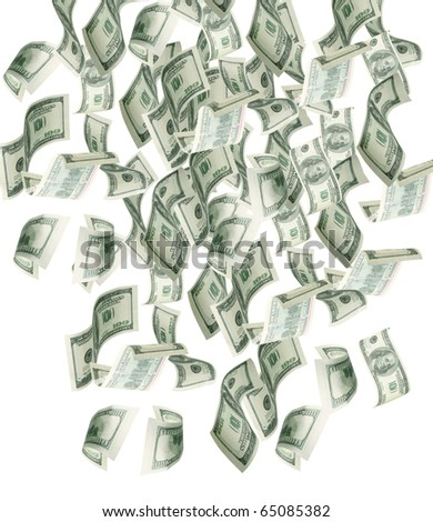 Dollar banknotes falling to the ground - stock photo