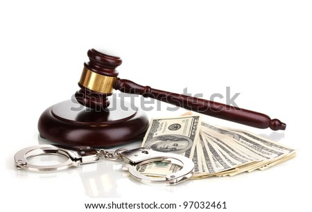 Dollar banknotes, handcuffs and judge's gavel isolated on white - stock photo
