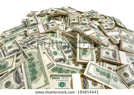 Dollar banknotes heap / studio photography of American moneys of hundred dollar  - stock photo