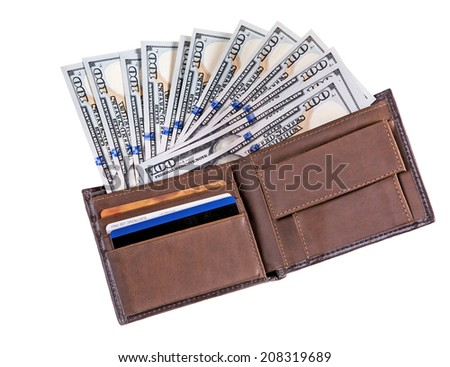 Dollar banknotes in leather wallet / studio photography of American national currency of hundred dollar isolated on white background  - stock photo