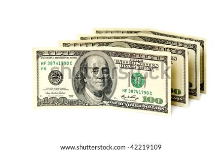 Dollar banknotes. Isolated on white background. - stock photo