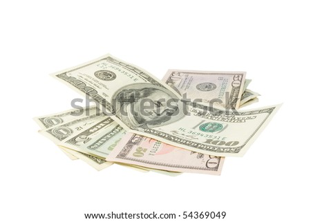Dollar banknotes. Isolated on white background.