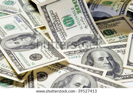 Dollar banknotes, macro,  business money background