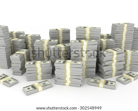Dollar banknotes stack, over white background - stock photo
