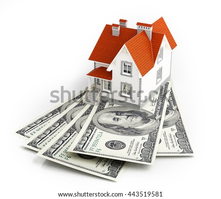Dollar banknotes under house. 3d rendering. - stock photo