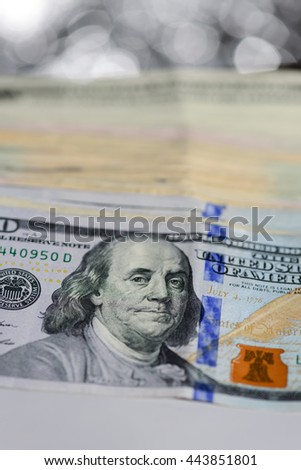 Dollar banks note money and bokeh background - stock photo