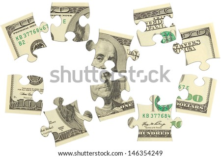dollar banks note money puzzle isolated  - stock photo