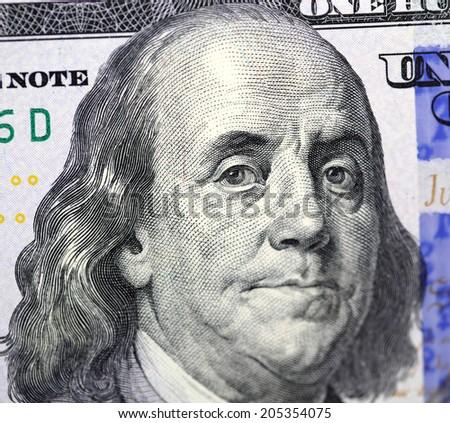 Dollar bill closeup. Portrait of Franklin - stock photo