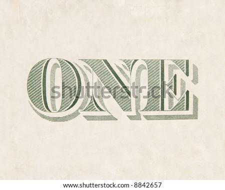 dollar bill detail (back) - ONE - stock photo