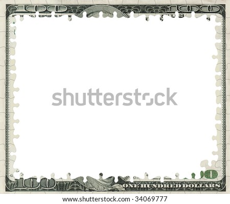 Dollar Bill Empty Puzzle Frame Stock Photo (Edit Now) 34069777 ...