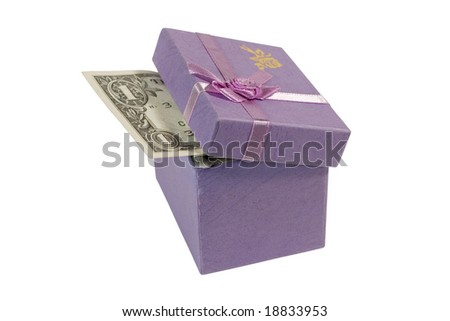 Dollar bill in a lilac gift box (isolated on white) - stock photo