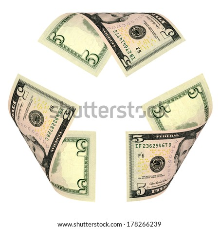 Dollar Bill Recycle Sign isolated on white. All banknotes are different - stock photo