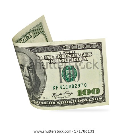 Dollar bill with clipping path