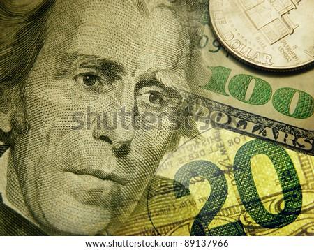 Dollar bills background with president Jackson - stock photo