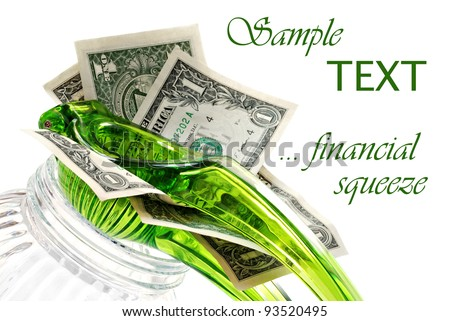 Dollar bills being squeezed in citrus press on white background with copy space.  Financial concept - Squeezing the most out of your money. - stock photo