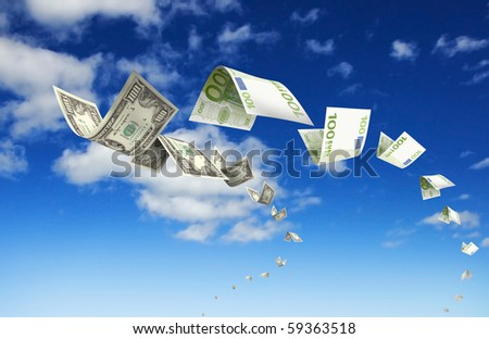 Dollar bills fly in flocks in the sky against a background of white clouds