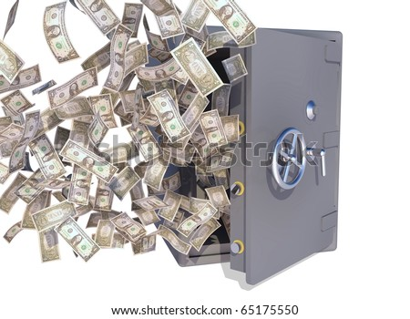 dollar bills flying out of a vault - stock photo