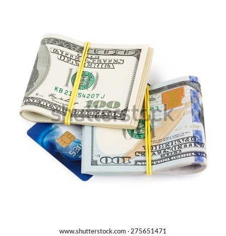 Dollar bills folded and tied with plastic credit card isolated on white - stock photo