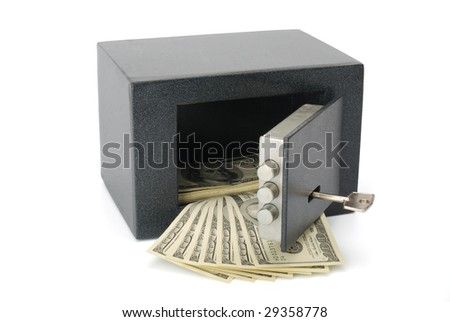 Dollar bills in a safe. Isolated on white with clipping path. - stock photo