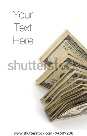 Dollar bills isolated on white, copy space - stock photo