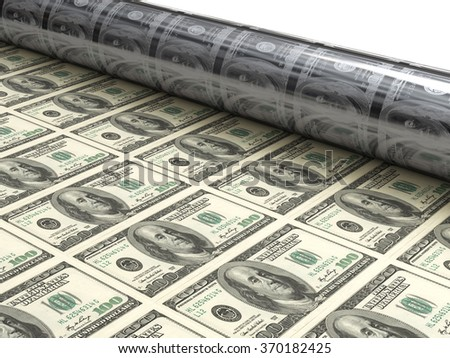 Dollar bills machine  - stock photo