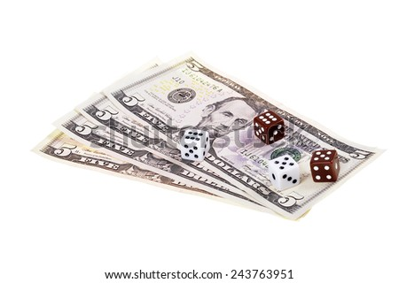 Dollar bills with dice isolated white background - stock photo