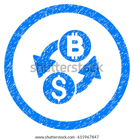 Dollar Bitcoin Exchange Grainy Textured Icon Inside Circle For Overlay Watermark Stamps Flat Symbol With