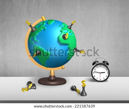 dollar chess stand on 3d map terrestrial globe with clock and concrete wall - stock photo