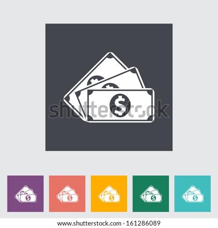 Dollar coin. Single flat icon. - stock photo