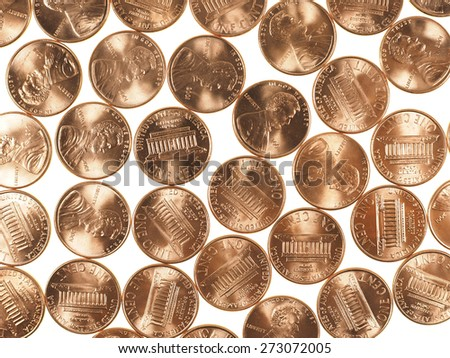Dollar coins 1 cent wheat penny cent currency of the United States - stock photo