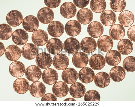 Dollar coins 1 cent wheat penny cent currency of the United States useful as a background - stock photo